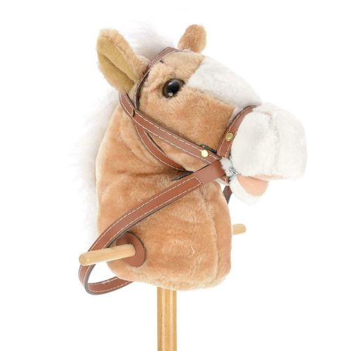 Light Brown Kids Children 90cm Tall Wooden Giddy Up Horse With Neighing Sound